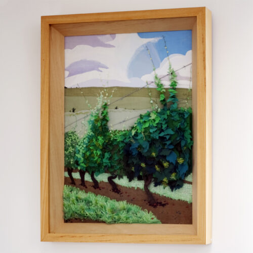 Breaky Bottom Vineyard East Sussex Textile Landscape by Jessica Coote