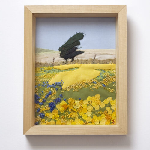 Buttercup Field East Sussex Textile Landscape Art by Jessica Coote