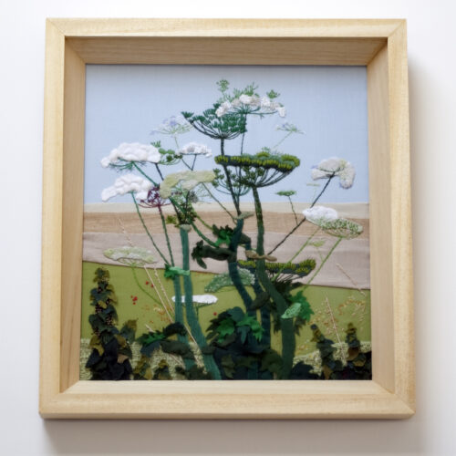 Cow Parsley Hand Embroidered Textile Landscape by Jessica Coote