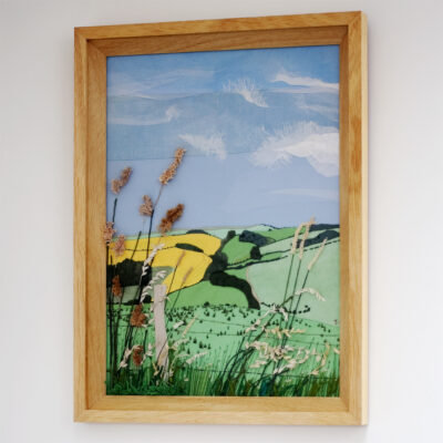 East Sussex Hand Embroidered Textile Landscape by Jessica Coote