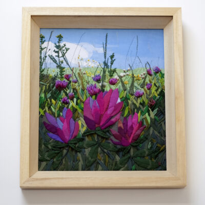 Red Clover Meadow – Landscape Embroidery by Jessica Coote