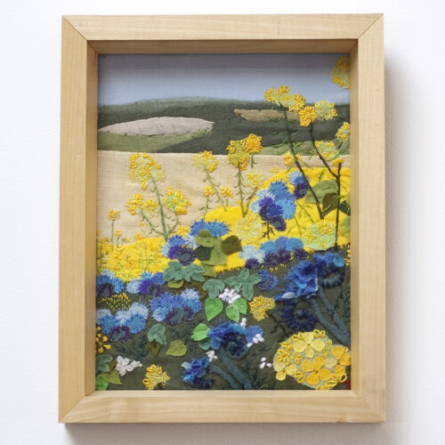 Field of Yellow Flowers South Downs Textile Landscapes by Jessica Coote