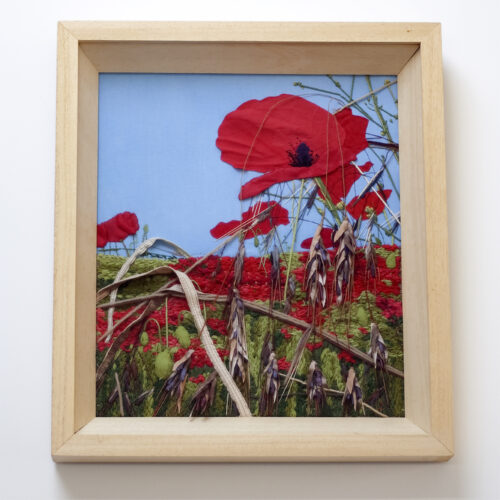 Poppies and Barley Textile Landscape Embroidery by Jessica Coote