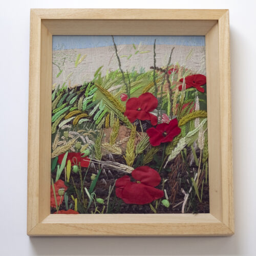 Wheat and Poppy Field Hand Embroidered Textile Landscape by Jess