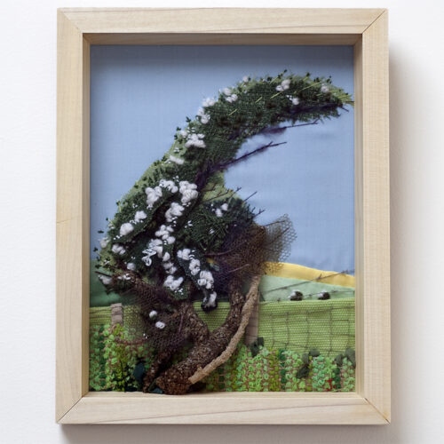 White Cherry Blossom Hand Embroidered Textile Landscapes by Jessica Coote