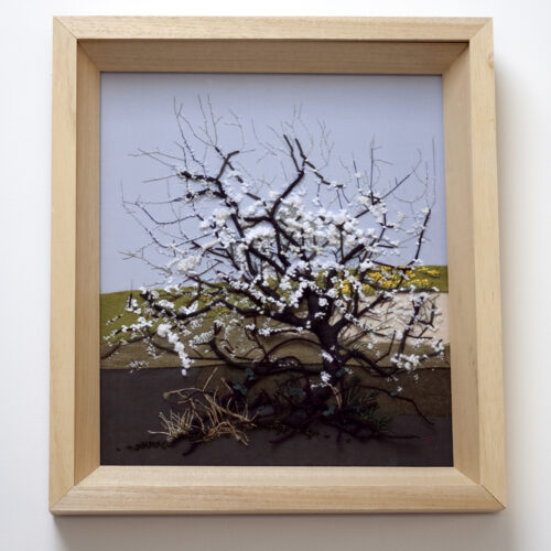 White Tree Blossom Landscape Embroidery by Jessica Coote