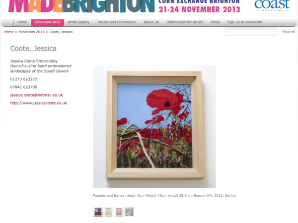 Jessica Coote Textile Artist Exhibiting at MADE BRIGHTON 2013 - The Design and Craft Fair