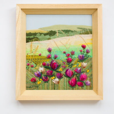 Pink Clover – Hand Embroidered Landscape by Jessica Coote