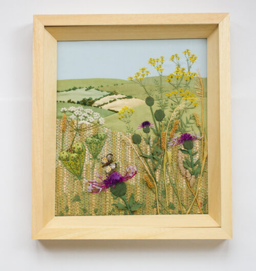 Thistle and wild grass – Hand Embroidered Landscape by Jessica Coote