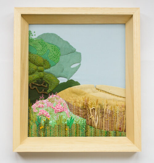 Wheat field and Forest – Hand Embroidered Landscape by Jessica Coote