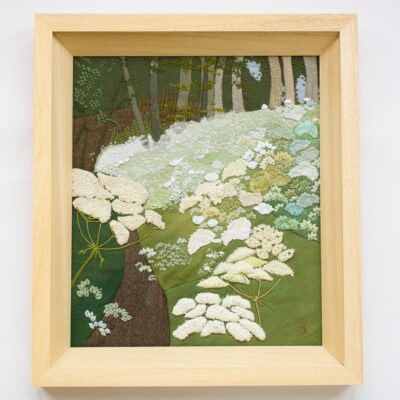 Wild Carrot and Forest – Hand Embroidered Landscape by Jessica Coote