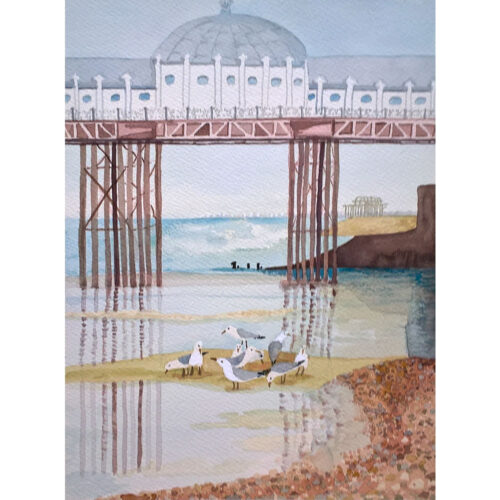 Feeding-by-the-Pier-Original-Watercolour-Painting-by-Jessica-Coote
