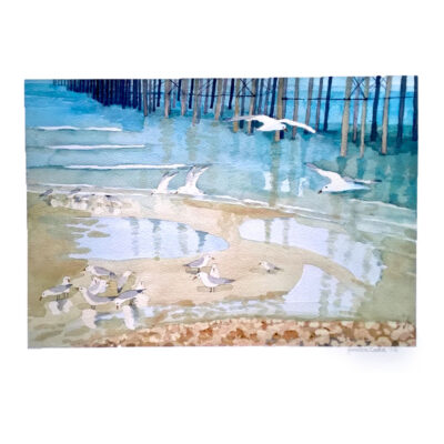 Seagulls- Feeding-Original-Watercolour-Painting-by-Jessica-Coote